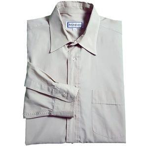 Yves Saint Laurent YSL Mens Cotton Dress Shirt Tan
